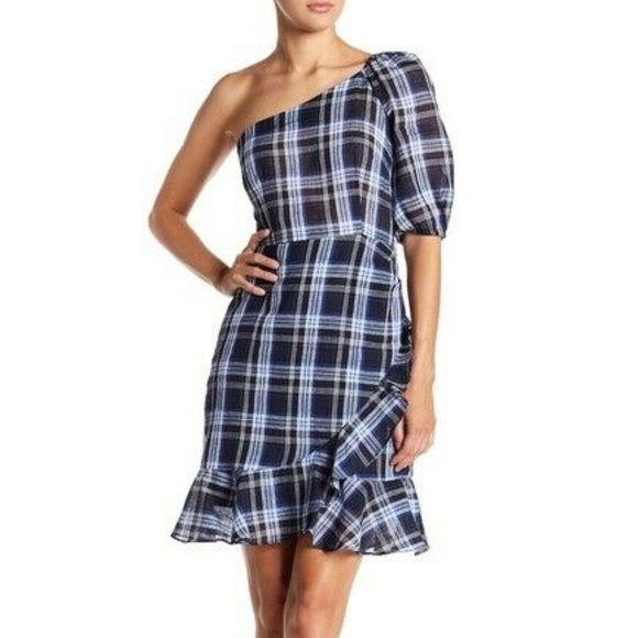 NEW Donna Morgan One Shoulder Bubble Sleeve Dress